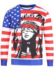 American Flag Chief Print Patriotic Sweatshirt