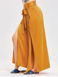 Bowknot High Slit Satin Wide Leg Pants