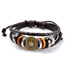Circles Sun Pattern Embelished Layered Retro Bracelet - Café