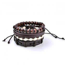 Retro Beads Faux Leather Woven Friendship Bracelets