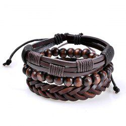 Faux Leather Woven Beaded Friendship Bracelets Set - COFFEE