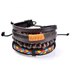 Faux Leather Multicolor Woven Beaded Bracelets