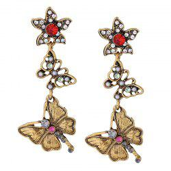 Vintage Rhinestone Flower Butterfly Dangle Earrings