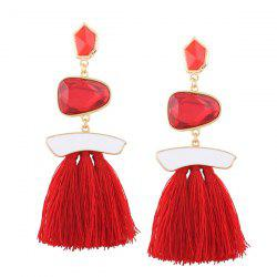 Irregular Faux Gem Tassel Earrings
