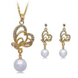 Faux Pearl Rhinestone Butterfly Jewelry Set