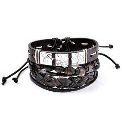 Layered Faux Leather Woven Friendship Bracelets Set