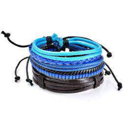 Beaded Faux Leather Woven Rope Bracelets Set - Blue