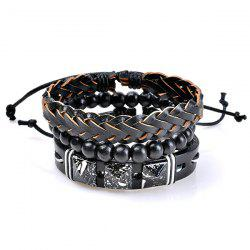 Beaded Faux Leather Woven Friendship Bracelets - COLORMIX