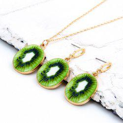 Cartoon Kiwi Pendant Necklace and Earrings