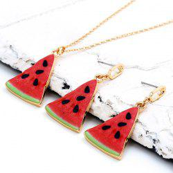 Cartoon Triangle Watermelon Pendant Necklace Set - Red