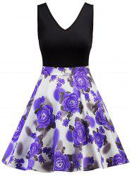 Sleeveless Floral Print Vintage Dress