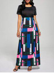 Floor Length Geometric Print A Line Dress