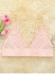 Applique Mesh Triangle Bralette - PINK