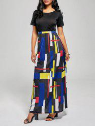 Floor Length Geometric Print A Line Dress - BLACK AND RED