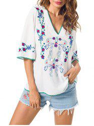 Embroidered V Neck Peasant Blouse -