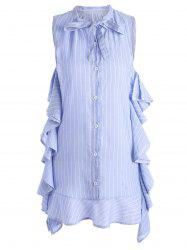 Drop Waist Bowknot Flounce Striped Dress
