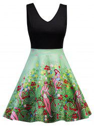 Sleeveless Floral Vintage Dress