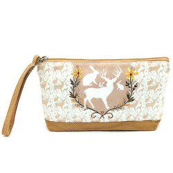 Suede Panel Cartoon Print Wristlet -