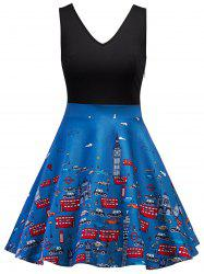 Sleeveless Printed Vintage Dress