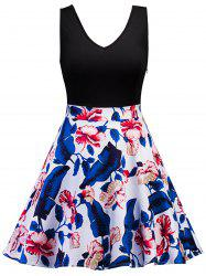 Leaf Floral Sleeveles Vintage Dress