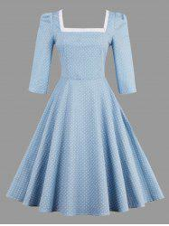 Polka Dot Lace Up Vintage Plus Size Dress