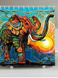 Extra Long Elephant Sunlight Waterproof Shower Curtain - Colorful - W71 Inch * L79 Inch