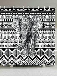Bohemian Elephant Geometric Fabric  Shower Curtain