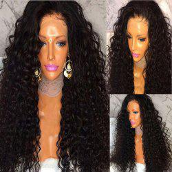 Long Side Part Fluffy Curly Lace Front Human Hair Wig - NATURAL BLACK