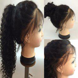 Long Free Part Fluffy Deep Curly Lace Front Human Hair Wig - NATURAL BLACK