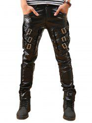 Buckle Embellished Skinny Faux Leather Pants