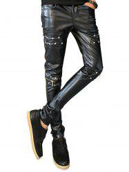 Studded Knee Zip Faux Leather Pants