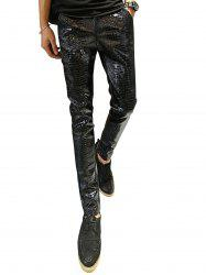 Crocodile Pattern Faux Leather Pants