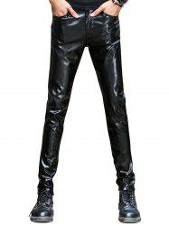 Pocket Slim Faux Leather Pants - BLACK
