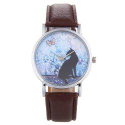 Cat Face Faux Leather Strap Quartz Watch