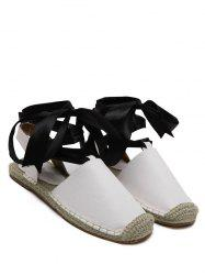 Espadrilles Tie Up Flat Heel Sandals - WHITE 38