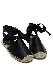 Espadrilles Tie Up Flat Heel Sandals - BLACK 38