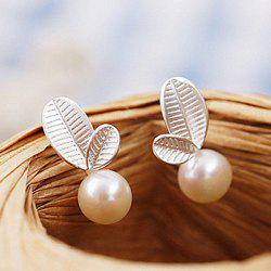 Leaf Faux Pearl Stud Earrings