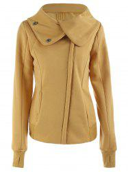 Chic Hooded Long Sleeve Pure Color Zippered Women's Jacket -