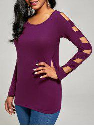 Elegant Scoop Neck Solid Color Cut Out T-Shirt For Women - PURPLISH RED