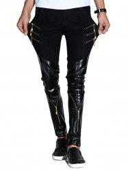 Faux Leather Panels Zipper Skinny Pants