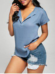 V Neck Short Sleeve Chiffon Blouse