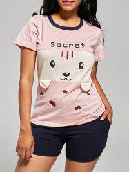 Cotton Bear Print Pajamas T-shirt and Shorts