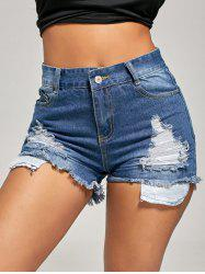 Skinny Ripped Mini Denim Shorts - BLUE