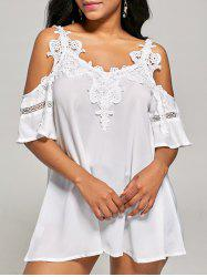 Cold Shoulder Lace Trim Tunic Top