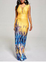 Lattice Print Maxi Party Evening Prom Dress - YELLOW XL