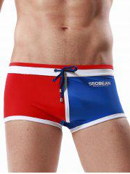 Drawstring Color Block Panel Pouch Swimming Trunks - RED S