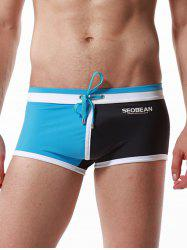 Drawstring Color Block Panel Pouch Swimming Trunks