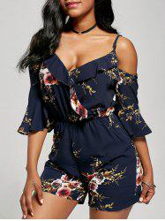 Floral Ruffle Cold Shoulder Romper - BLUE