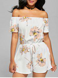 Tassel Floral Off The Shoulder Romper