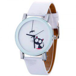 Cat Faux Leather Strap Quartz Watch - WHITE